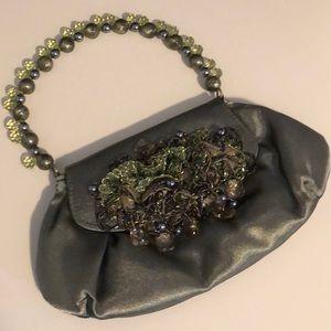 Dressy Beaded Small Green Satin Purse / Clutch